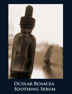 Soothing serum for ocular rosacea used in preparation of eye makeup in rosacea patients.