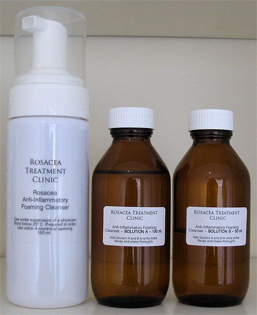 Rosacea Anti-Inflammatory Foaming Cleanser — Solutions combine to make the rosacea cleanser.